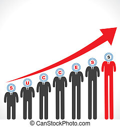 Success graph with businessman