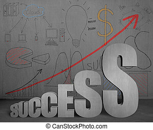 Success growing trend with business doodles on wall