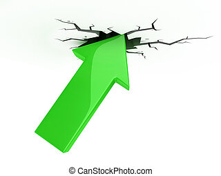 success, growth, profit 3d icon - green arrow break up the...
