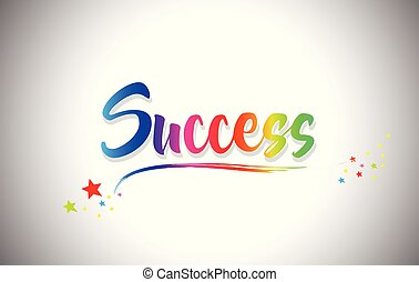 Success Handwritten Word Text with Rainbow Colors and Vibrant Swoosh.
