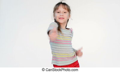 Success happy girl - Excited little girl gesturing thumb up...