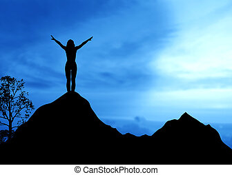 High resolution graphic of a woman standing on top of a mountain.