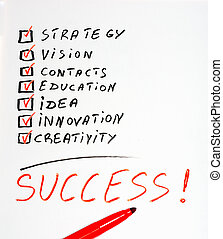 Success highlighted with red
