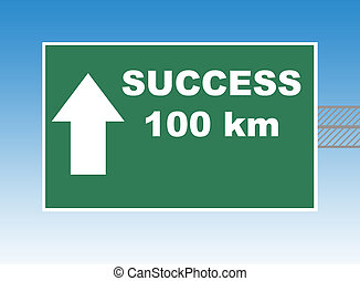 Success Highway sign - Highway or road sign pointing way to...