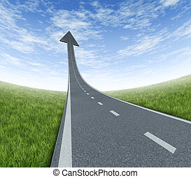 Success highway rising to the top as a road to financial freedom and prosperity moving up with a sky is the limit symbol and a path blasing off to the air with an arrow head pointing upward on a summer landscape with forced perspective.