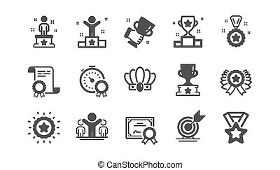 Success icons set. Winner cup, goal target, certificate. Medal with ribbon, reward, crown. Vector
