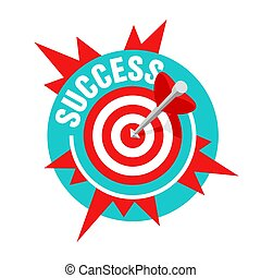 Success illustration- business strategy and targeting success - bulls eye hit in archery, target and star burst - vector circular banner element