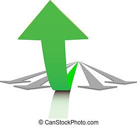 Success - Concept of success. Large bent arrow rises above...