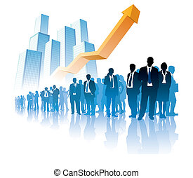 Success in business - Businesspeople are standing in front...