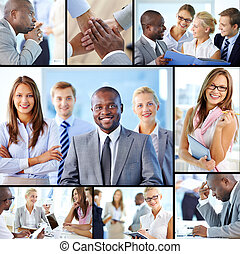Collage of confident employees at work