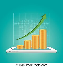 Success in business concept. golden coin stacks with financial graph on smartphone.
