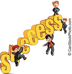 Success in business concept happy man standing on top of the word success