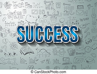 Success in Business Concept with Doodle design style