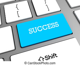 success in business concept with key on computer keyboard, 3d rendering