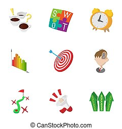 Success in business icons set, cartoon style