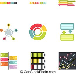 Success in business icons set, flat style