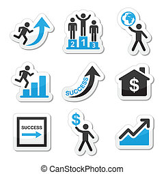 Success in business icons - Vector labels set of people in...