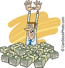 Success in business - Illustration of happy and successful...