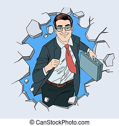 Success in Business Pop Art Concept. Successful Businessman Braking the Wall