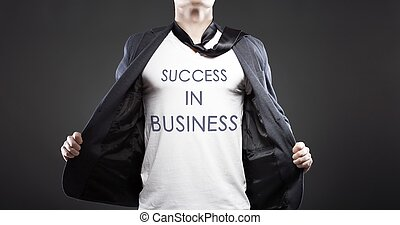 Success in business, young successful businessman