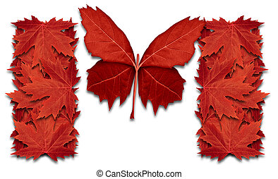 Success in Canada and canadian opportunity concept or snow bird migrate, southward, as red maple leaf symbol shaped as a butterfly flying up as an icon of northern immigration in a 3D illustration style.
