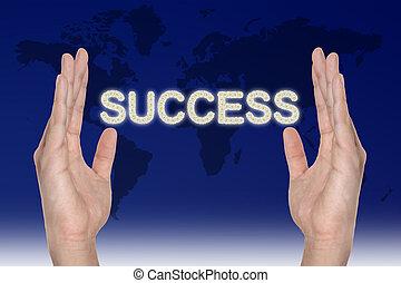 Success in hand , successful business idea