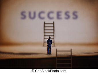 Success in Life and Business or Personal talent Concept. Young Miniature Businessman Standing in front of Staircase Success Ladder by the Wall