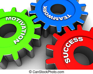 Success - Industrial gears with words motivation, success,...