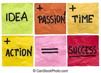 success ingredients concept