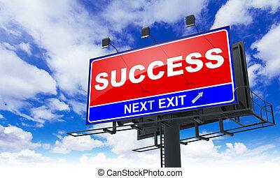 Success Inscription on Red Billboard.