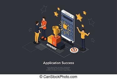 success., isométrique, victoire, sur, heureux, illustration, application, mobile, project., vecteur, concept, gens, reussite