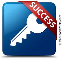 Success (key icon) blue square button red ribbon in corner