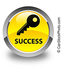 Success (key icon) glossy yellow round button