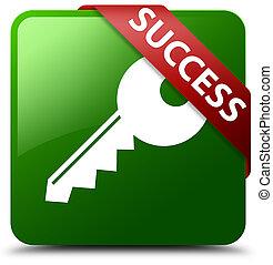 Success (key icon) green square button red ribbon in corner