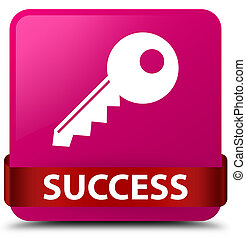 Success (key icon) pink square button red ribbon in middle