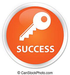 Success (key icon) premium orange round button