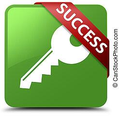 Success (key icon) soft green square button red ribbon in corner