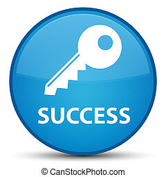 Success (key icon) special cyan blue round button