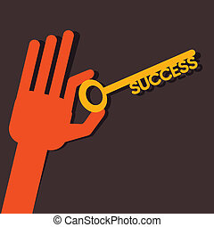 Success key in hand