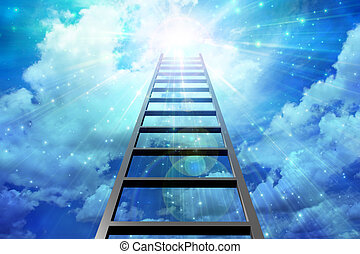 Success - Ladder leads into sky