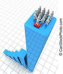 Success leadership and teamwork concept - Leader making...