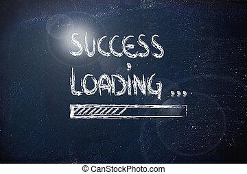 success loading, progress bar on blackboard (sparkle)