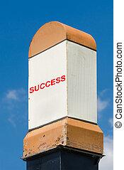 Success Milestone Concept On A Blue Sky Background