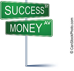 success-money, richting, teken.