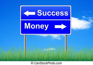 Success money roadsign on sky background, grass underneath.