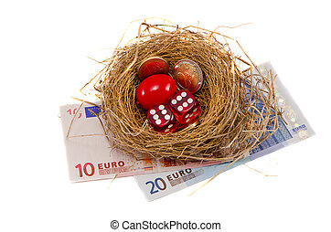 success nest with money and dice on white