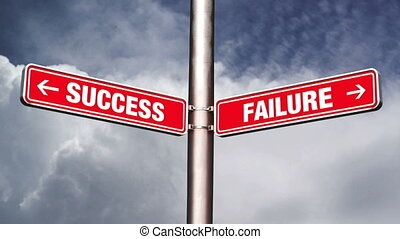 Success of failure road sign pointing to opposite...