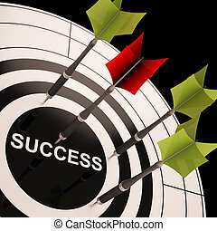 Success On Dartboard Shows Successful Goals