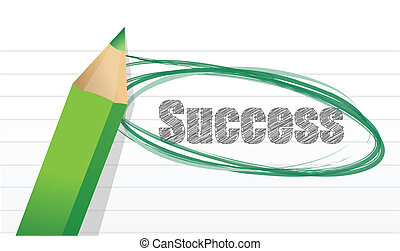 success. pencil and notepad text illustration