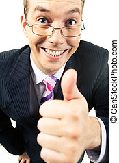 Success - Close-up of happy businessman showing thumb up and...